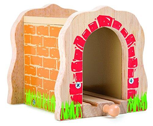 Tunnel für Eisenbahnen TRAINible aus robustem Holz, sorgt für spannende Abwechslung auf den Schienen, mit allen gängigen Holzeisenbahnstrecken kompatibel, unerlässliches Eisenbahn-Zubehör
