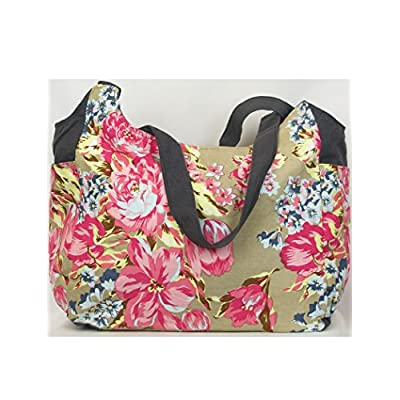 Large Beach Bag - Big Tote floral canvas fabric bag - shopping bag for women - totes
