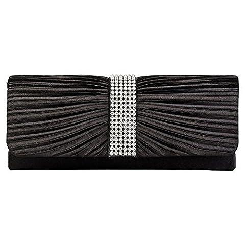Eleoption Womens Satin Diamante Ladies Pleated Bow Wedding Bridal Prom Handbag Clutch Bag (black)