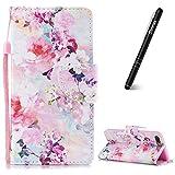 Slynmax Coque iPhone 7 Plus Fleurs colorées Peint Mode PU Cuir Étui iPhone 8 Plus Housse de Protection Luxe Style Livre Pochette Case Folio Rabat Magnétique avec Fonction de Support Coque