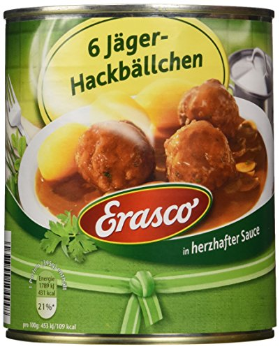 Erasco 6 Jäger-Hackbällchen in herzhafter Sauce, 800g