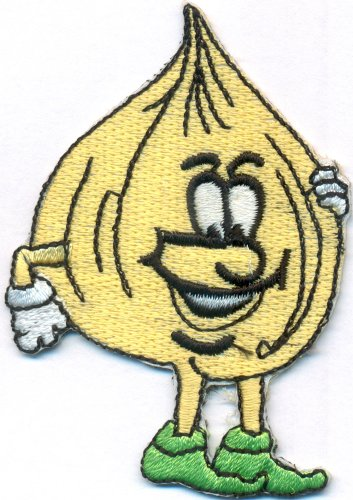 Zwiebel Onion Comic Vegetaria Kochschürze Kochbuch Bügelbild Aufnäher Abzeichen