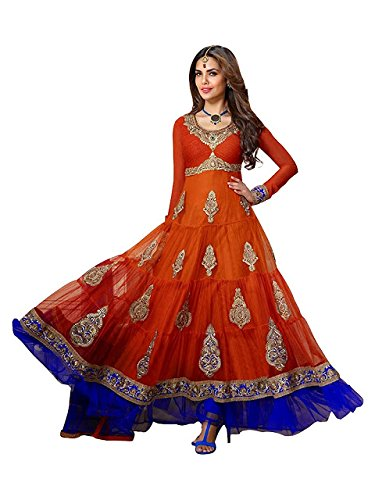 Isha Enterprise Women\'s Net Orange And Blue Embroidered Anarkali Suit