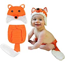 Hrph Super Girl Fox lindo hecho a mano de ganchillo hecho punto recién nacido la foto del muchacho Atrezzo Outfit Costume Set
