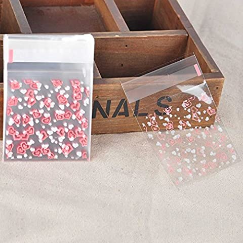 100pcs Self Adhesive Cookies Cellophane Candy Clear Plastic Cellophane Bag