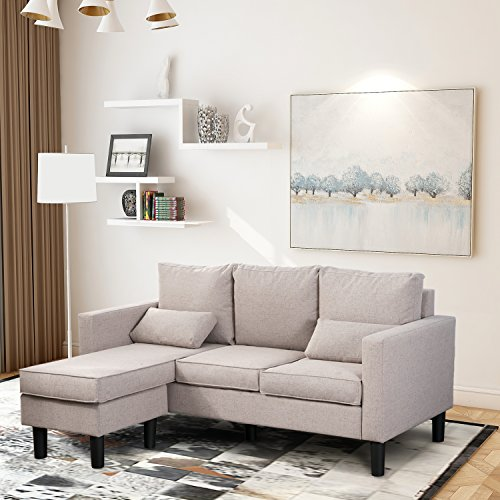Leisure Zone ® Fabric Corner Sofa Bed Couch – bed Settee Sofa Suite Corner Couch Group Left & Right Hand Side (Off-white)