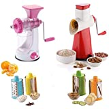 KE Heavy Manual Fruit And Vegetable Juicer + 4 In 1 Drum Grater Shredder Slicer For Vegetable, Fruits (Combo)