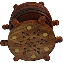 BKDT Marketing Wooden Handicraft Hand Made Coaster set with Wheel Shape Stand, Set of Six, Brown Color