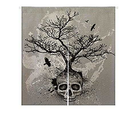 Custom Creative Skull Tree Black Eagle Window Door Cover Curtain, Home Decoration NOREN Cotton and linen Hanging Curtain Size 85x90