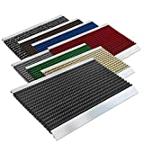 Repräsentative Fußmatte Profi Brush - Testurteil Sehr Gut - Schmutzfangmatte mit Alu Rahmen für außen und innen - verschiedene Bürsten Farben und Größen ( 50x80cm Schwarz )