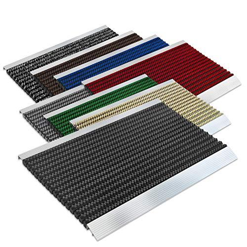 Floordirekt PRO Repräsentative Fußmatte Profi Brush - Testurteil Sehr Gut - Schmutzfangmatte mit Alu Rahmen für außen und innen - Verschiedene Bürsten Farben und Größen (40x60cm Schwarz) -