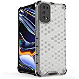 For Realme 7 pro HoneyComb Shockproof Frame TPU hard PC Clear Case Cover-White Clear