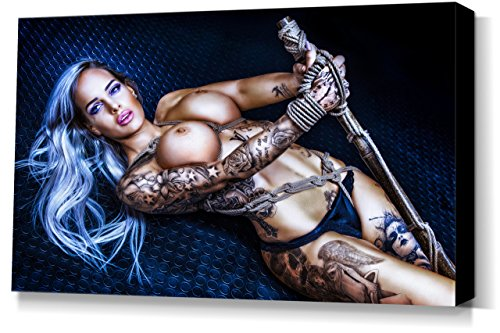 Fine Art of Bondage Bamboo Pole, Vanessa Louis - Leinwand Bild 60x40cm, sexy erotik fetisch BDSM Kunstdruck Wandbild auf Keilrahmen, erotische Wand-Dekoration mit Girls und Seilen
