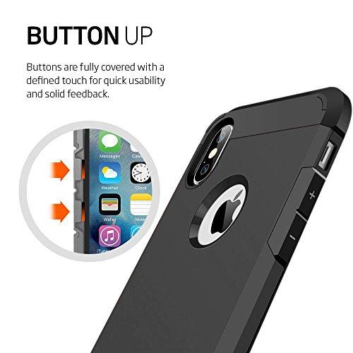 iPhone X iPhone Coque, Ezzymob® Heavy Duty Coque hybride, résistant aux chocs en caoutchouc TPU et coque en polycarbonate pour Apple iPhone X. noir