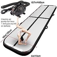Alfombrilla hinchable Airtrack para gimnasia con bomba de aire eléctrica para gimnasio, yoga, entrenamiento, niños y deportes de 33 cm de largo, color negro, tamaño 13'x3.3'x4(4x1x0.1m)