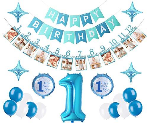 E.For.U® 1. Geburtstag Dekorationen für Junge,Deko 1 Geburtstag, erst Geburtstag Deko Jungen (Blau)