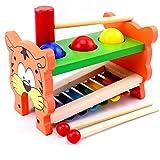 swiftt Hammerbank mit Musiktaste und Süßer Tigermuster Kopf- und Hämmerspielzeug Xylophon und Hammerspiel aus Holz mit Xylophon Klavier für Kinder