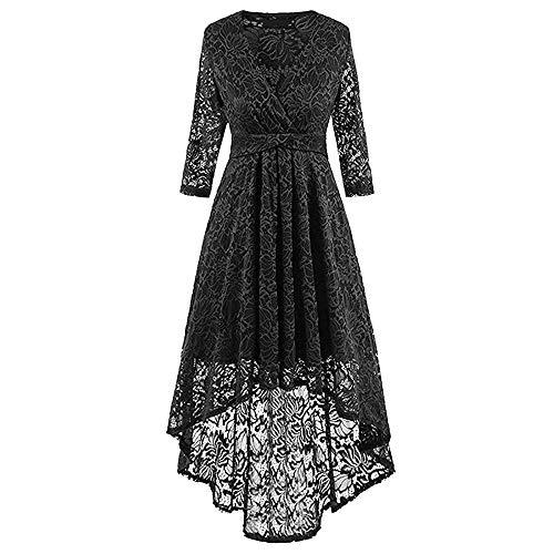 950er Kleider für Damen Herbst,Frauen 50er Vintage Retro Kleider Blumen Spitze Abendkleid Lange Ärmel Cocktailkleid Brautjungfer Hochze Kleider ()