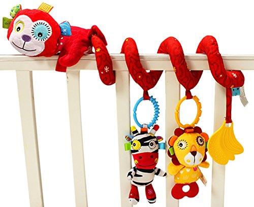 Jollybaby - Juguetes Colgantes Espiral de Animales para Cuna Cochecito Carrito bebés niños niñas arrastrar - Rojo - Mono