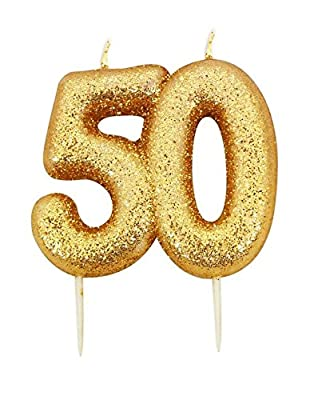 Gold Number Candle - 50 from Anniversary House