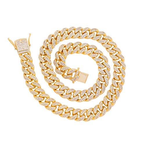 De Kostüm Lux - 18 Inch Schweres Seil Gold Pimp Chain, Punk Style Halskette Für Männer, 2 Row 11MM Iced Out Diamond CZ Stein Übertrieben Rapper Kostüm