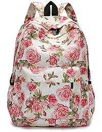 VJGOAL Damen Rucksack, Damen Männer Frischen Stil Rucksäcke Blumendruck Bookbags Weibliche Reise Schultaschen Studenten Rucksack