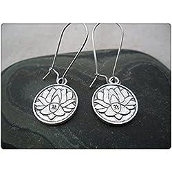 Plata pendientes de flor de loto–Yoga Meditación Jewelry–Simple diaria Pendientes Plata