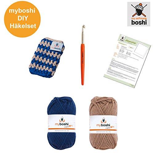 Preisvergleich Produktbild Myboshi Handy Tasche , Häkel Set: Häkelnadel + Häkelanleitung + 2x Häkel-Wolle + selfmade Label , Farben: Marine, Ocker