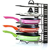 EverEx Adjustable pan and Pot Rack Holder Dish Storage Organiser for Kitchen, Black