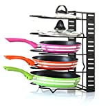 #5: EverEx Adjustable pan and Pot Rack Holder Dish Storage Organiser for Kitchen, Black