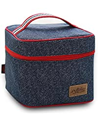 Finex Insulated Lining Zippered Bento Lunch Box Tote Bag With Top Strap Handle Denim Blue Oxford Cloth Cube Shape...