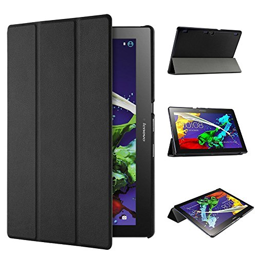 ELTD Lenovo TAB3 10 Plus / Lenovo Tab 3 A10-70F Hülle Case - Ultra Schlank Smart Cover Tasche Schutzhülle Case für Lenovo TAB3 10 Plus / Lenovo Tab 3 A10-70F 25,65cm (10,1 Zoll Full HD IPS) mit Standfunktion, Schwarz