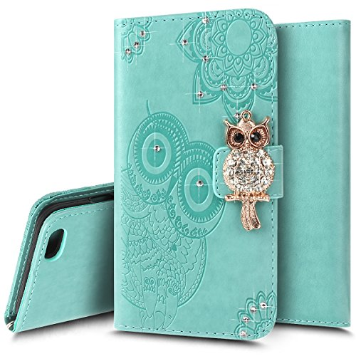 Ukayfe custodia cover per iphone 6/6s plus, luxury protettiva flip portafoglio copertura case con super sottile tpu interno case e porta carte di credito in pu pelle per iphone 6/6s plus-verde
