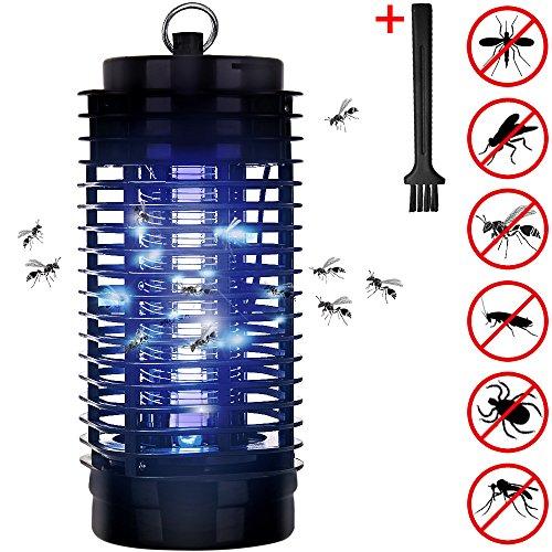 Deuba Elektronischer Insektenvernichter Insektenabwehr 25m² Insektenfalle Insektenschutz Fliegenfalle Fliegenfänger Mücke Falle UV-Licht 2 Reinigungspinsel