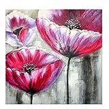 TTKX@@ Große Leinwand Bilder Handgemachten Blumen Gemälde Handgemalte Abstrakte Rote Blume Ölgemälde Wohnkultur Wandkunst Für Wohnzimmer,70X70Cm