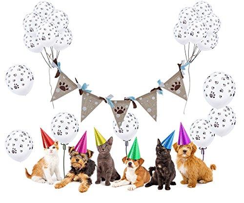 Hunde Geburtstag Deko, Funpa 24Pcs Paw Prints Latex Ballons Hund Pfoten Luftballons mit Paw Print Sackleinen Banner Dreieck Flaggen Pet für Pet Geburtstagsparty Hundegeburtstage Dekoration