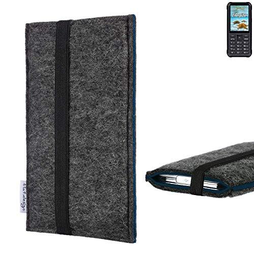 flat.design Handyhülle Lagoa für Energizer H20 | Farbe: anthrazit/blau | Smartphone-Tasche aus Filz | Handy Schutzhülle| Handytasche Made in Germany