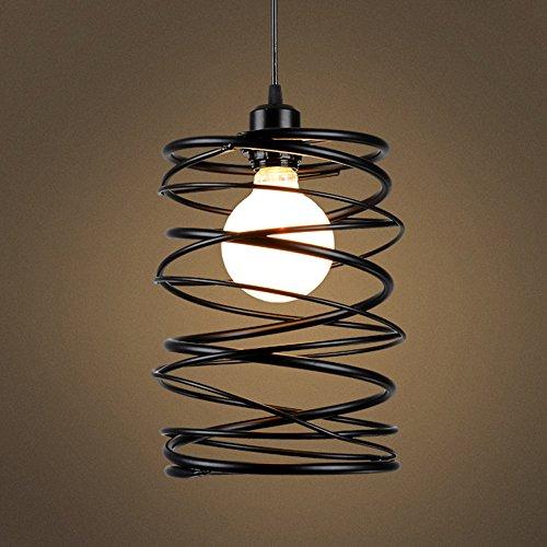 Lampada a sospensione e27,koonting retro vintage industriale lampadario gabbia in spirale ferro,illuminazione da soffitto