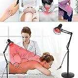 Infrarotlampe,275W Einstellbare Wärmelampe Rotlichtlampe mit Standfuß Heiztherapie zur Linderung von Muskelschmerzen, 5M effektive Beleuchtung