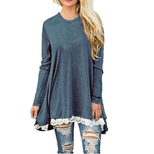 FORH Damen Casual Langarm Pullover Sweatshirt Vintage Rundhals Minikleid Loose Blusen Tunika Partykleid Tops mit Elegant Spitze Hem (Blau, XL) (Top-scrunch)