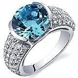 Revoni Bezel Set Large 4.00 Carats Swiss Blue Topaz Ring in Sterling Silver