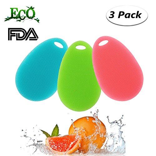 Philonext 3 Pack Silikon Wäscher, Lebensmittelqualität Schwamm Reinigung Reiniger Geschirr Waschen Tuch Bürsten Scrubber Küche Bad Reinigung Antibakterielle Werkzeug