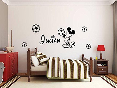 Adhesivo de pared personalizado con el nombre de Mickey Moouse. Decoración de pared...