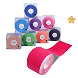 Kinesiologie Tape Sport Body Physio Tapeverband 5m x 5cm,8 Farben auswählbar Goalwoo Tape für Nacken Schulter Rücken Arm Ellenbogen Handgelenk Schenkel knie Knöchel Fuß, inkl.freier Haftmagnet