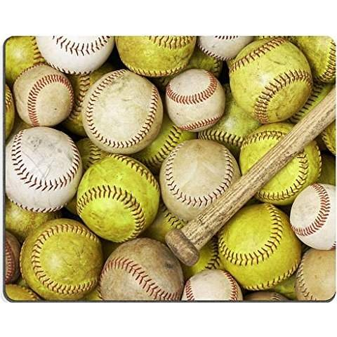 a picture of baseballs softballs and a bat mouse pad