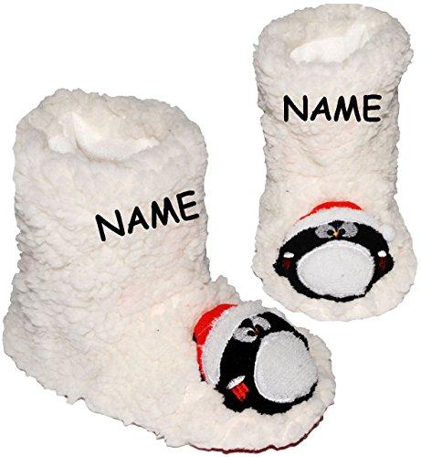 Unbekannt Hausschuhe / Hüttenschuhe / Pantoffel -  lustiger Pinguin  - incl. Name - Größe 33 - 34 __ schön warm & super weich __ Plüschhausschuh / für Kinder & Erwach..