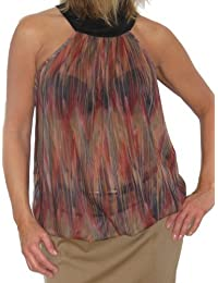 ICE (4002-2) Top Sexy Transparent Sans Manches Motif Animal Mousseline - Couleur : Rouge / Marron - Taille : 34-38