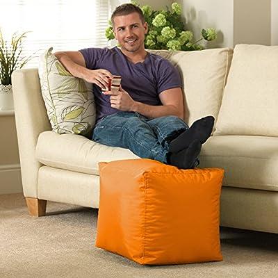 Bean Bag Bazaar - 38cm x 38cm, Cube Bean Bag Stool - Indoor and Outdoor Use - Water Resistant, Weather Proof Bean Bags