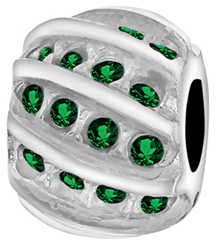 Tuscany Charms Sterling Silver Green Crystals Swirl Bead International Silver Swirl