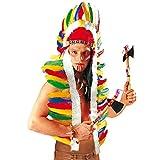 Indianer Kopfschmuck Häuptling Federhaube lang 160 cm Western Feder Haube Federkopfschmuck Apachen Rothaut Squaw Wilder Westen Federschmuck Fasching Cowboy Karneval Kostüm Zubehör